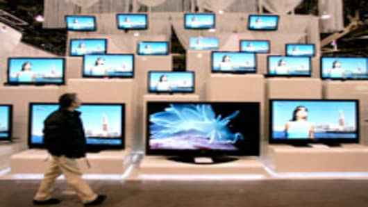 Samsung's flat-panel television display is shown at the 2007 Consumer Electronics Show in Las Vegas.